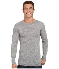 Terramar Merino Wool Long Sleeve Crew Grey Heather Men's Long Sleeve Pullover Gray
