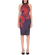 Karen Millen Floral Print Stretch Crepe Pencil Dress Multi Coloured