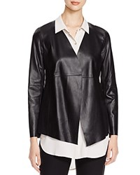 Eileen Fisher Angle Front Leather Jacket Black