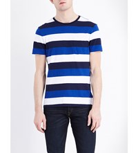 Polo Ralph Lauren Slim Fit Striped Cotton Jersey T Shirt Cruise Navy Mul