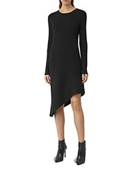 Allsaints Keld Asymmetric Ribbed Sweater Dress Cinder Black Marl