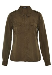 Hallhuber Shirt Blouse With Chest Pockets Green