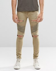 Sik Silk Siksilk Skinny Biker Jeans With Extreme Rips Stone