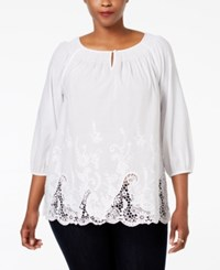 Charter Club Plus Size Embroidered Hem Tunic Only At Macy's Bright White