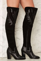 Fan The Flames Over The Knee Leather Boot Black