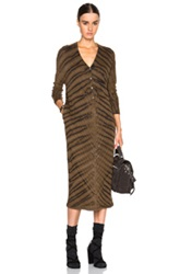 Raquel Allegra Long Sleeve V Neck Dress In Brown Blue Ombre And Tie Dye