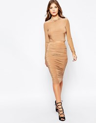 Ax Paris Slinky Co Ord Set With Pencil Skirt Beige