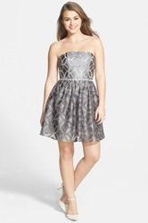 A. Drea Embellished Lace Strapless Skater Dress Juniors Gray