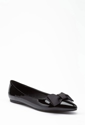 Forever 21 Faux Leather Bow Flats Black