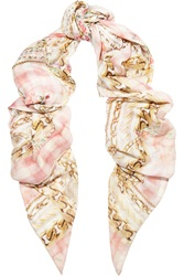 Balmain Printed Modal And Cashmere Blend Scarf Pink