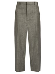 Raey Flat Front Cropped Wool Trousers Grey