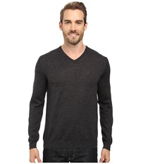 Calvin Klein Merino Moon And Tipped V Neck Sweater Black Jack Heather Men's Sweater