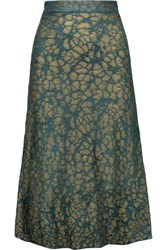 M Missoni Metallic Crochet Knit Midi Skirt Emerald