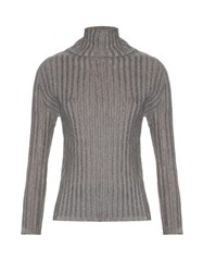 Issey Miyake Pleated Roll Neck Long Sleeved Top Light Grey