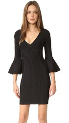 Herve Leger Yasmine Flare Sleeve Dress Black