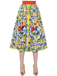 Dolce And Gabbana Maiolica Print Cotton Poplin Midi Skirt