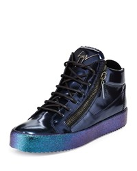 Giuseppe Zanotti Mid Top Leather Sneaker With Ombre Sole Blue