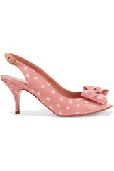 Red Valentino Redvalentino Bow Embellished Polka Dot Patent Leather Sandals Pink