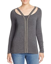 Design History Cutout Neck Sweater 100 Bloomingdale's Exclusive Wall Street Gray