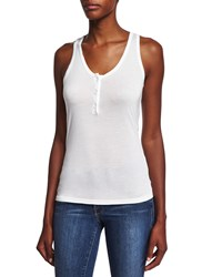 Frame Le Henley Scoop Neck Tank Blanc