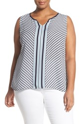Sejour Plus Size Women's Split Neck Georgette Shell Ivory Blue Stripe Print