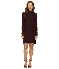 Heather Brushed Hacci Long Sleeve Dress Rosewood Women's Dress Red