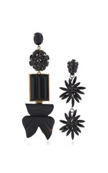 Marni Asymmetrical Earrings With Strass In Black