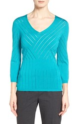 Women's Classiques Entier 'Salvia' Placed Stitch V Neck Sweater Teal Lake