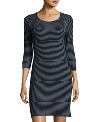 Lamade Mika Striped Knit Slim Dress Navy