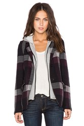 525 America Hooded Plaid Blazer Black