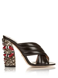 Gucci Sylvia Crossover Embellished Mules Black