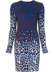 Lanvin Leopard Knitted Dress Blue