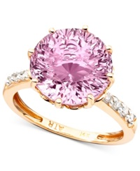 Macy's 14K Rose Gold Pink Amethyst 6 3 4 Ct. T.W. And Diamond Accent Ring