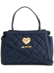 Love Moschino Small Quilted Tote Blue