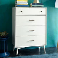 Mid Century 4 Drawer Dresser White West Elm