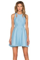 Halston Cut Out Fit And Flare Dress Blue