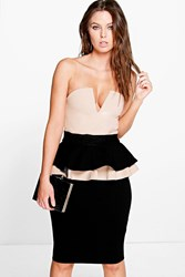 Boohoo Bandeau Colour Block Peplum Midi Dress Stone