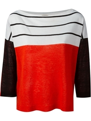 Nude Striped Panelled Sweater White