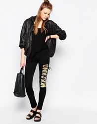 Moschino Metallic Slogan Leggings Black