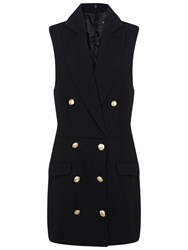 Miss Selfridge Tuxedo Button Playsuit Black