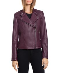 Bagatelle. City Lamb Leather Quilted Moto Jacket Chianti
