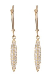 Candela 10K Yellow Gold Elongated Cz Dangle Earrings Gray