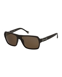 Ermenegildo Zegna Polarized Square Navigator Sunglasses Dark Brown