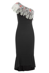Peter Pilotto One Shoulder Dress With Lace Trim Black