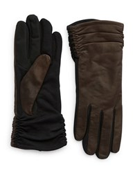 Lord And Taylor Leather Ruched Gloves Brown