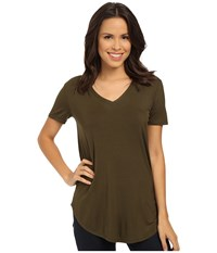 Culture Phit Preslie Cap Sleeve Modal V Neck Top Olive Women's Clothing