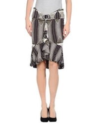 Just Cavalli Knee Length Skirts Dark Brown