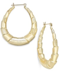 Macy's Graduated Bamboo Hoop Earrings In 10K Gold