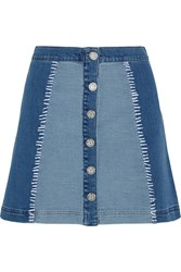 House Of Holland Patchwork Stretch Denim Mini Skirt Blue