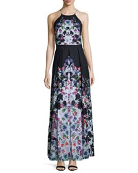 Phoebe Couture Halter Neck Floral Print Maxi Dress Black White